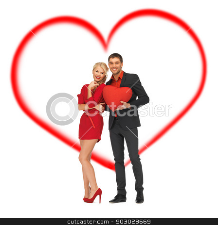 beautiful couple holding big heart stock photo, love and relationship concept - beautiful couple holding big heart by Syda Productions