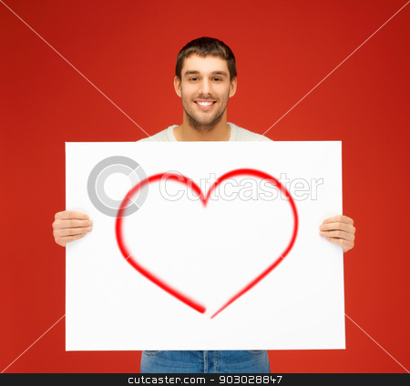 handsome man with big white board and heart on it stock photo, relationships and happiness concept - handsome man with big white board and heart on it by Syda Productions