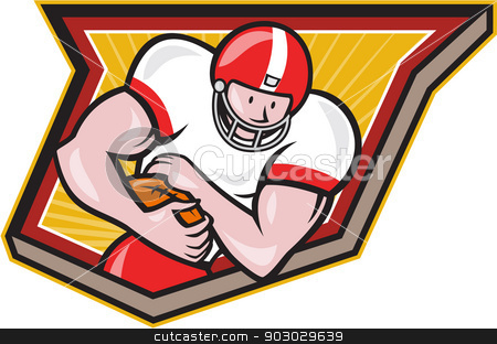 American Football Running Back Run Shield Cartoon stock vector clipart, Illustration of an american football gridiron running back player running with ball facing front fending set inside shield done in retro style. by patrimonio