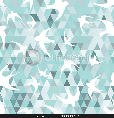 Seamless with the swallows, and triangles stock vector clipart, Seamless texture with the swallows, and triangles  White silhouettes of birds  Mosaic effect by LittleCuckoo