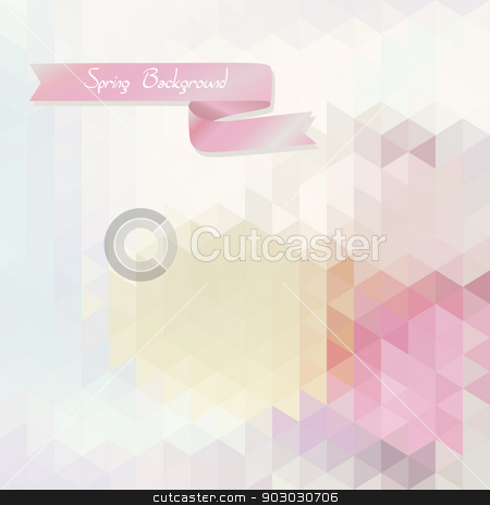 abstract background  triangles with pink ribbon stock vector clipart, abstract background  of  triangles with pink ribbon by LittleCuckoo