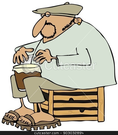 Man playing a drum stock photo, This illustration depicts a man wearing a beret and sitting on a wooden crate playing a drum between his knees. by Dennis Cox
