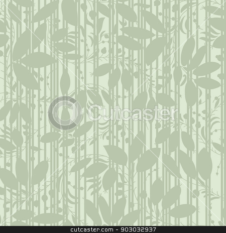 green plant silhouette stripes stock vector clipart, green background with silhouettes of plants and stripes. Use as wallpaper or a neutral backdrop. seamless texture by LittleCuckoo