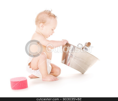 baby boy with wash-tub stock photo, picture of baby boy with wash-tub over white by Syda Productions