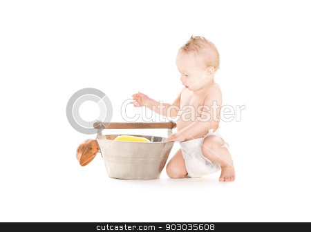 baby boy with wash-tub and scoop stock photo, picture of baby boy with wash-tub and scoop over white by Syda Productions