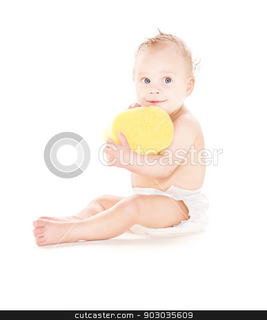 baby boy with sponge stock photo, picture of baby boy with sponge over white by Syda Productions