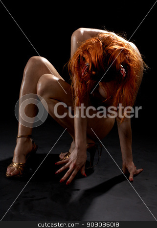 redhead girl with horns on high heels stock photo, redhead girl with horns on high heels over black by Syda Productions
