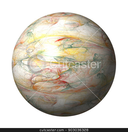 Fractal Globe stock photo, Multi color fractal building a globe with background. by Henrik Lehnerer