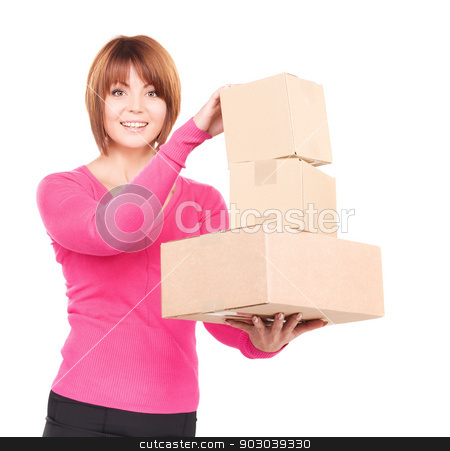 businesswoman with parcels stock photo, picture of businesswoman with parcels over white by Syda Productions