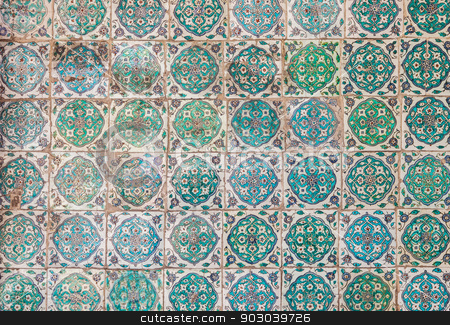 Turkish Tile stock photo, Detail of Turkish Tile from Ottoman Era Istanbul by Scott Griessel