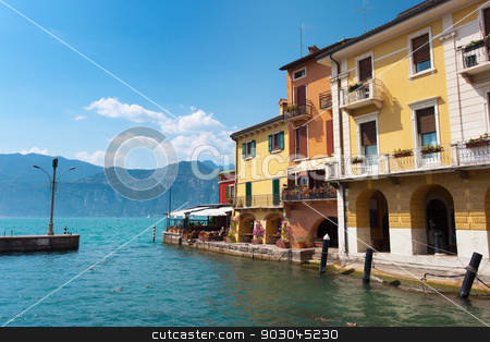 Malcesine coast stock photo, Malcesine, coast of lake Garda, focus on house facades by Natalia Macheda