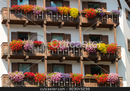 Details of Madonna di Campiglio stock photo, Rustic windows decorated with flowers in Madonna di Campiglio by Natalia Macheda