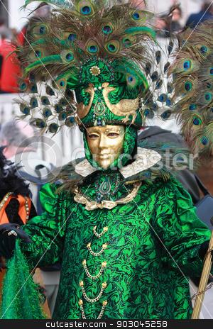 Venetian mask of peacock stock photo, Venetian mask of peacock in green color by Natalia Macheda