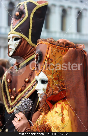 Venice carnival stock photo, Elegant masks at Venice carnival by Natalia Macheda
