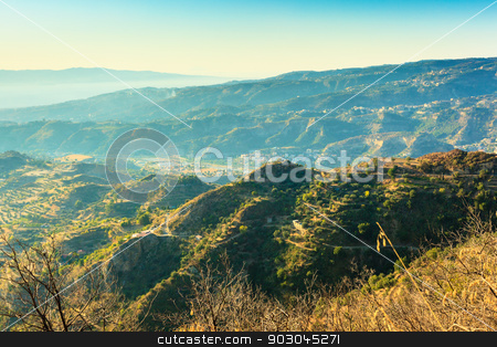 Wonderful view from Aspromonte stock photo, Wonderful view on strait of Messina from Aspromonte in Calabria by Natalia Macheda