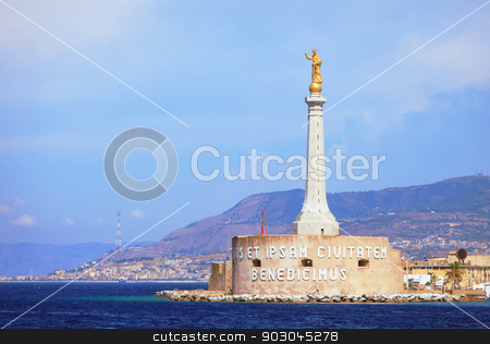 Port of Messina stock photo, Messina Port and the blessing of a golden Madonnina  by Natalia Macheda