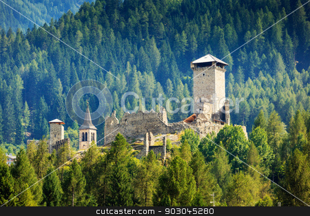Castle of Ossana stock photo, Castle San Michele of Ossana in coniferous forest of Val di Sole by Natalia Macheda