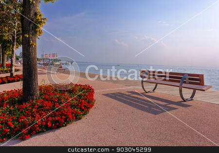 Bardolino ppromenade stock photo, Picteresque view from Bardolino promenade at lake Garda by Natalia Macheda