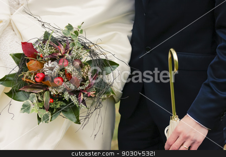 Wedding theme stock photo, Wedding theme of bride and groom with autumnal accessories by Natalia Macheda