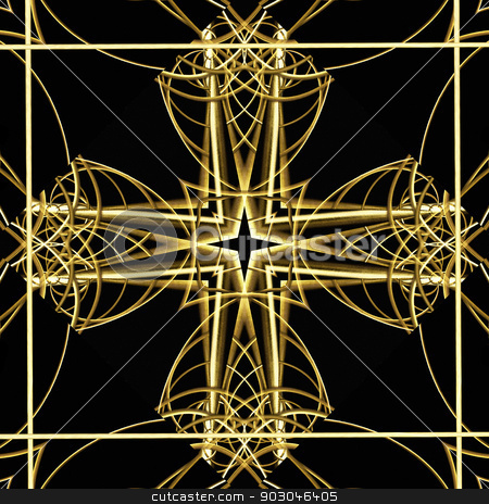 Fancy Gold Artwork stock photo, Elegant Decorative artwork of an ornament cross in gold and black tones. by Daniel