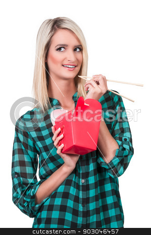 Woman Eating stock photo, Beautiful woman eating Chinese Japanese or Asian takeout food by Robert Byron