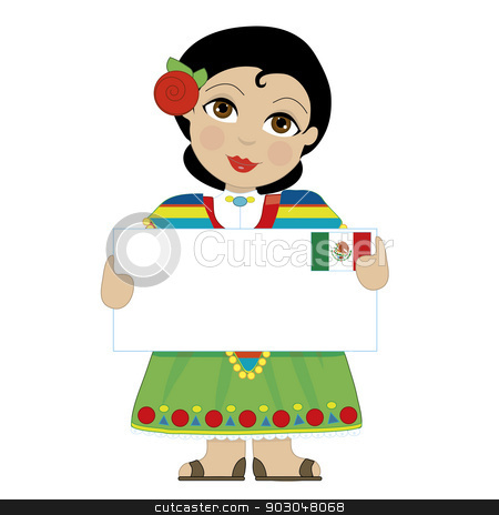 Mexican Girl Sign stock vector clipart, A little girl is dressed in a traditional Mexican costume and holding a sign that looks like a big letter with the Mexican flag in the upper right hand corner by Maria Bell
