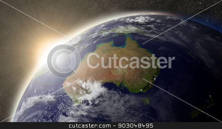 Sun over Australia stock photo, Sunset over Australia region on planet Earth viewed from space with Sun and stars in the background. Elements of this image furnished by NASA. by Harvepino