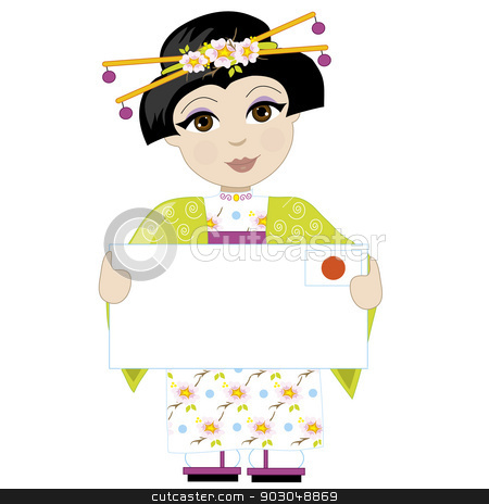 Japan Girl Sign stock vector clipart, A little girl is dressed in a traditional Japanese costume and holding a sign that looks like a big letter with the Japanese flag in the upper right hand corner by Maria Bell
