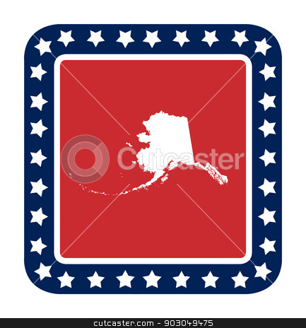Alaska state button stock photo, Alaska state button on American flag in flat web design style, isolated on white background. by Martin Crowdy