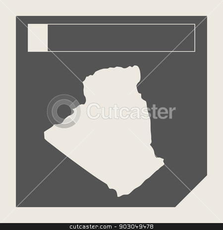 Algeria map button stock photo, Algeria map button in responsive flat web design map button isolated with clipping path. by Martin Crowdy