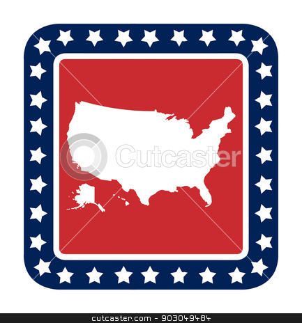 American map button stock photo, American map button in flat web design style, isolated on white background. by Martin Crowdy