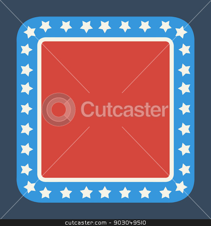 Blank American flag button stock photo, Blank American flag button in flat web design style, isolated on white background. by Martin Crowdy