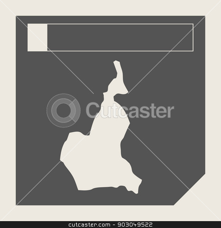 Cameroon map button stock photo, Cameroon map button in responsive flat web design map button isolated with clipping path. by Martin Crowdy