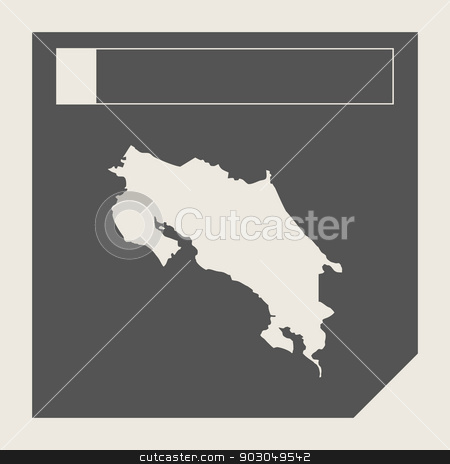 Costa Rica map button stock photo, Costa Rica map button in responsive flat web design map button isolated with clipping path. by Martin Crowdy