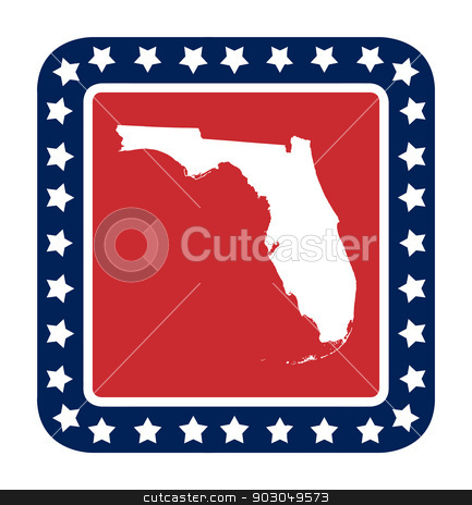 Florida state button stock photo, Florida state button on American flag in flat web design style, isolated on white background. by Martin Crowdy