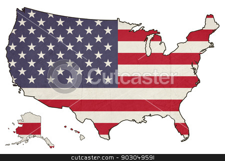 Grunge America flag map stock photo, Grunge America flag map isolated on a white background, U.S.A. by Martin Crowdy