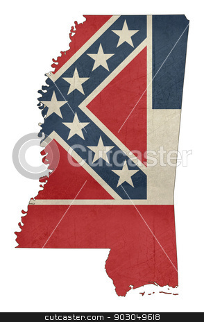 Grunge Mississippi flag map stock photo, Grunge Mississippi flag map isolated on a white background, U.S.A.  by Martin Crowdy