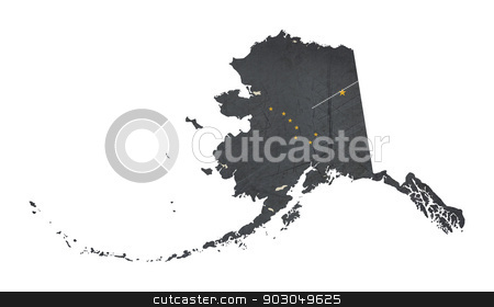 Grunge state of Alaska flag map stock photo, Grunge state of Alaska flag map isolated on a white background, U.S.A. by Martin Crowdy