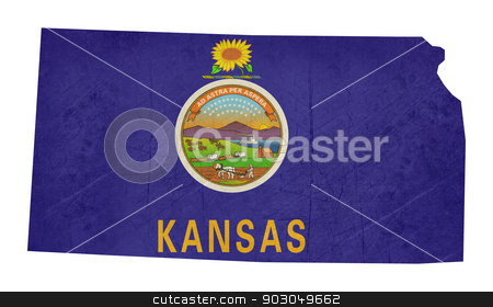 Grunge state of Kansas flag map stock photo, Grunge state of Kansas flag map isolated on a white background, U.S.A. by Martin Crowdy