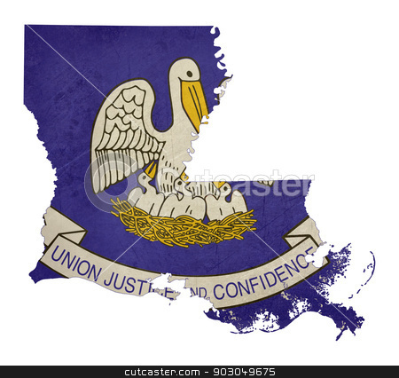 Grunge state of Louisiana flag map stock photo, Grunge state of Louisiana flag map isolated on a white background, U.S.A. by Martin Crowdy