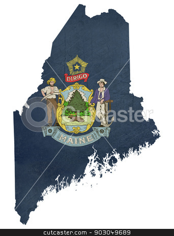 Grunge state of Maine flag map stock photo, Grunge state of Maine flag map isolated on a white background, U.S.A. by Martin Crowdy