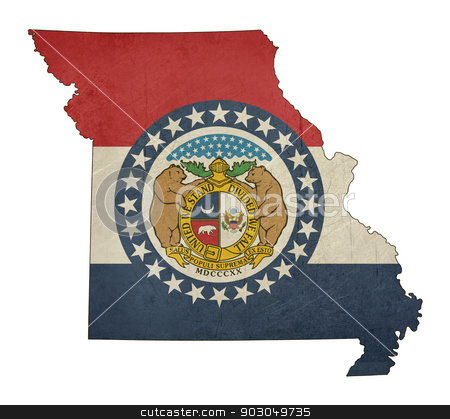 Grunge state of Missouri flag map stock photo, Grunge state of Missouri flag map isolated on a white background, U.S.A. by Martin Crowdy