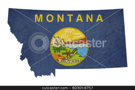 Grunge state of Montana flag map stock photo, Grunge state of Montana flag map isolated on a white background, U.S.A. by Martin Crowdy