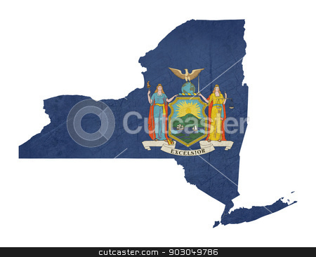 Grunge state of New York flag map stock photo, Grunge state of New York flag map isolated on a white background, U.S.A. by Martin Crowdy