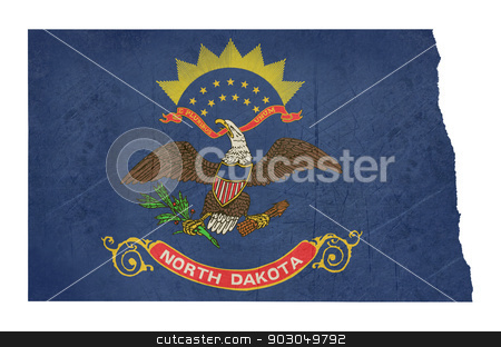 Grunge state of North Dakota flag map stock photo, Grunge state of North Dakota flag map isolated on a white background, U.S.A. by Martin Crowdy