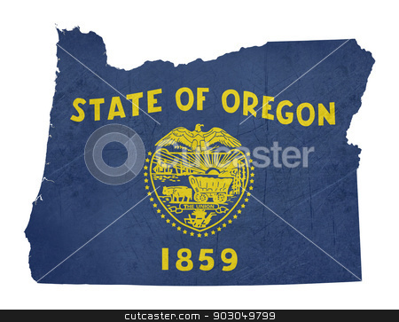 Grunge state of Oregon flag map stock photo, Grunge state of Oregon flag map isolated on a white background, U.S.A. by Martin Crowdy