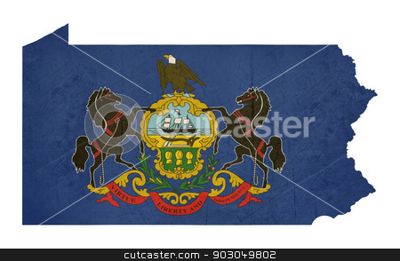 Grunge state of Pennsylvania flag map stock photo, Grunge state of Pennsylvania flag map isolated on a white background, U.S.A. by Martin Crowdy