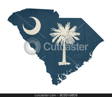 Grunge state of South Carolina flag map stock photo, Grunge state of South Carolina flag map isolated on a white background, U.S.A. by Martin Crowdy