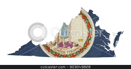 Grunge state of Virginia flag map stock photo, Grunge state of Virginia flag map isolated on a white background, U.S.A.  by Martin Crowdy