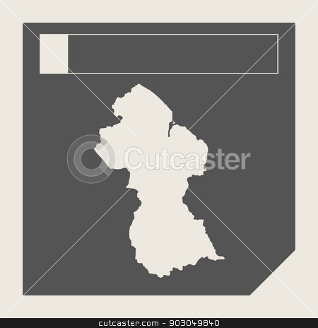 Guyana map button stock photo, Guyana map button in responsive flat web design map button isolated with clipping path. by Martin Crowdy